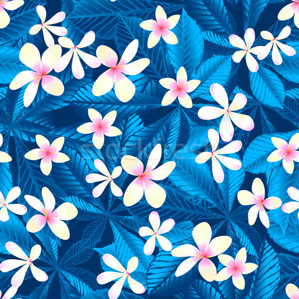 Tropical frangipani floral seamless pattern Stock photo © adamfaheydesigns