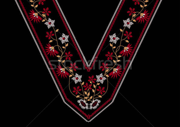 Neck floral embroidery for apparel Stock photo © adamfaheydesigns