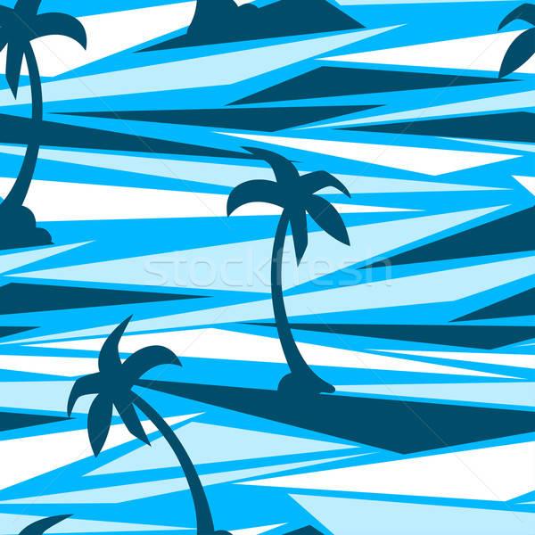 Trópusi pálmafák absztrakt végtelenített fa divat Stock fotó © adamfaheydesigns