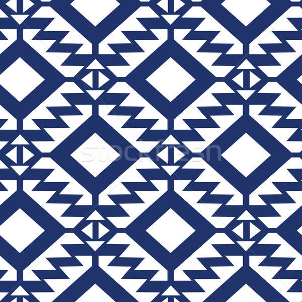 Stock photo: Tribal blue and white geometric seamless pattern