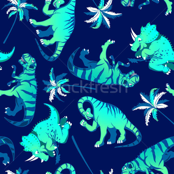 Dinosaurs with palm trees in a seamless pattern Stock photo © adamfaheydesigns