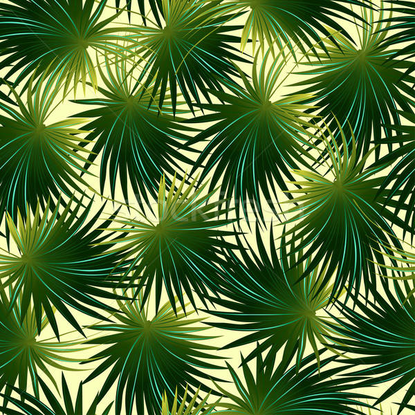 Tropical cabbage palm leaf in a seamless pattern Stock photo © adamfaheydesigns