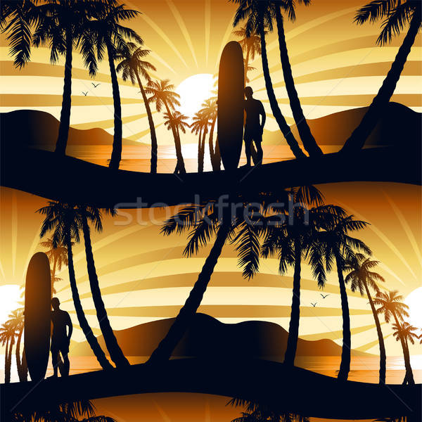 Surfing at Sunrise with a longboarder seamless pattern Stock photo © adamfaheydesigns