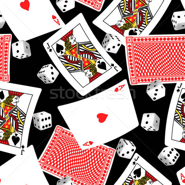 Six sided dice and blackjack cards seamless pattern Stock photo © adamfaheydesigns