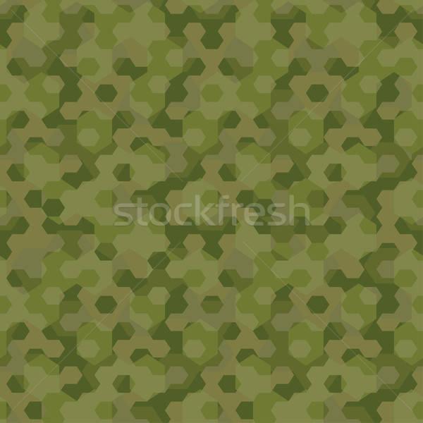 Camouflage meetkundig zeshoek achtergrond frame Stockfoto © adamfaheydesigns