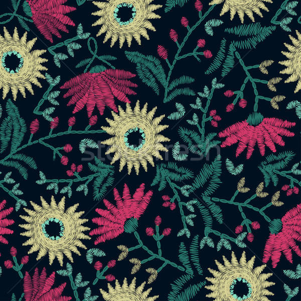 Embroidery floral seamless pattern on navy background Stock photo © adamfaheydesigns