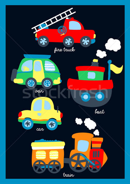 Cute little vehicles on a navy background Stock photo © adamfaheydesigns