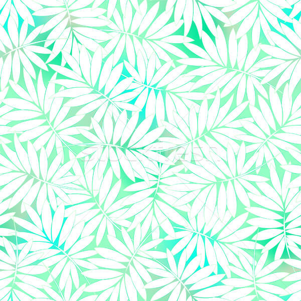 Stock photo: Tropical white and green leaves in a seamless pattern