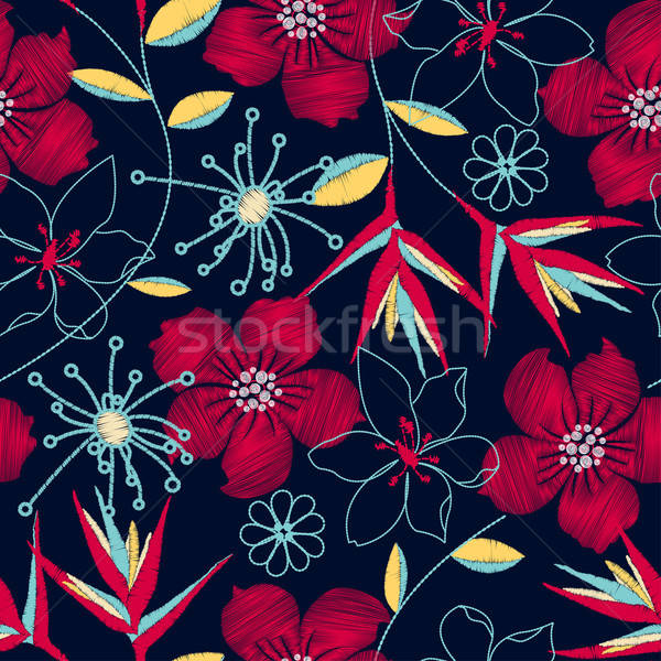 Hibiscus tropical woven embroidery seamless pattern Stock photo © adamfaheydesigns