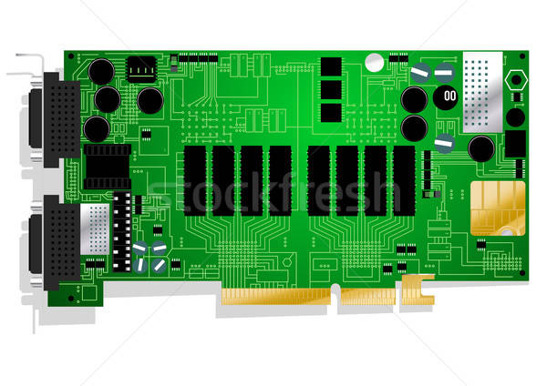 Green graphics card circuit board illustration on white backgrou Stock photo © adamfaheydesigns