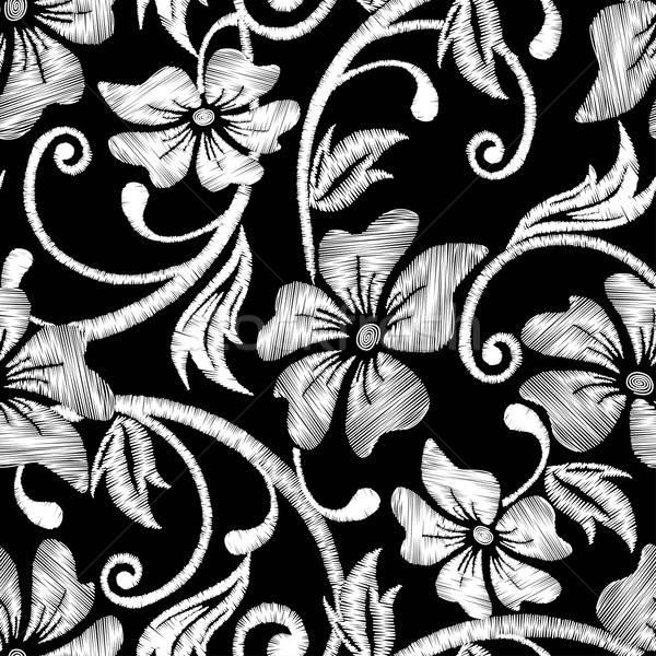 черно белые гибискуса тропические вышивка цветочный бесшовный Сток-фото © adamfaheydesigns