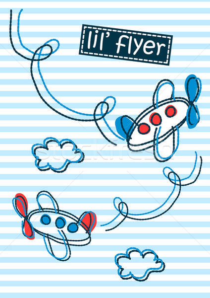 Little flyer air planes stripes and embroidery Stock photo © adamfaheydesigns