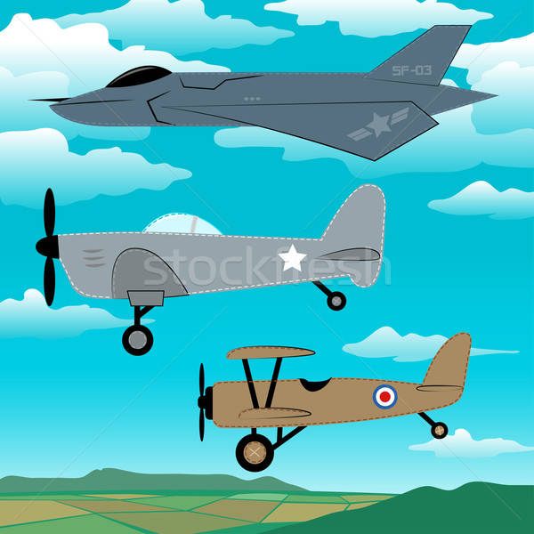 3 military planes flying together with clouds embroidery Stock photo © adamfaheydesigns
