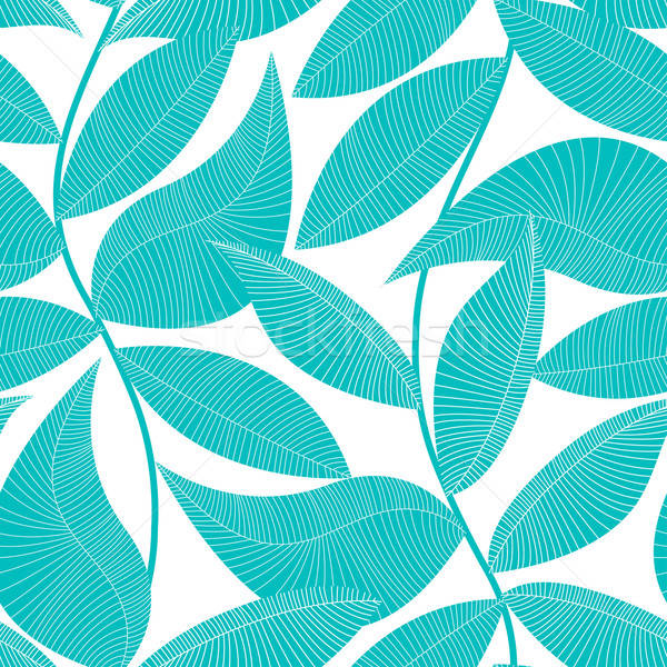 Turquoise and white tropical leaf seamless pattern Stock photo © adamfaheydesigns