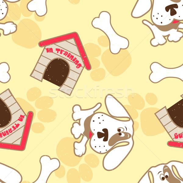 Puppy dog with bone seamless pattern Stock photo © adamfaheydesigns