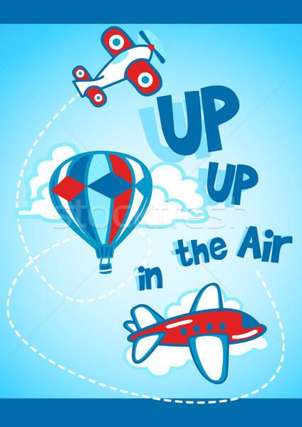 Hasta aire globo aviones ninos rojo Foto stock © adamfaheydesigns