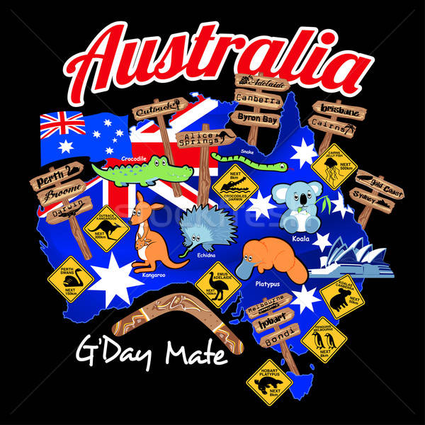 Map of Australia with nation flag and icons Stock photo © adamfaheydesigns