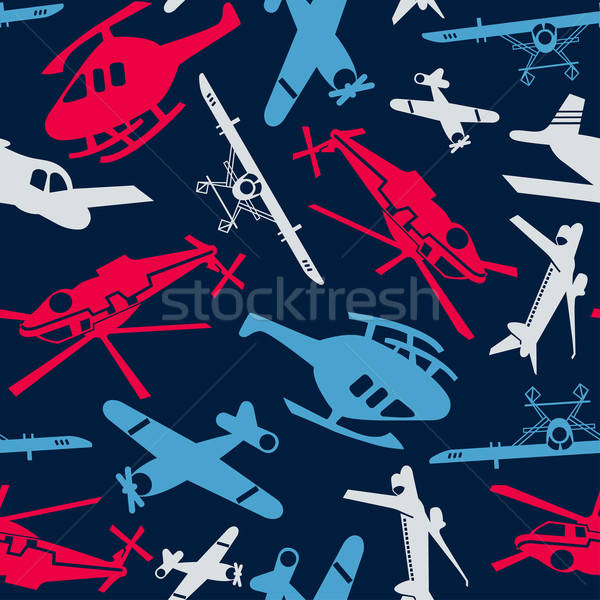 Planes and helicopters in a seamless pattern Stock photo © adamfaheydesigns