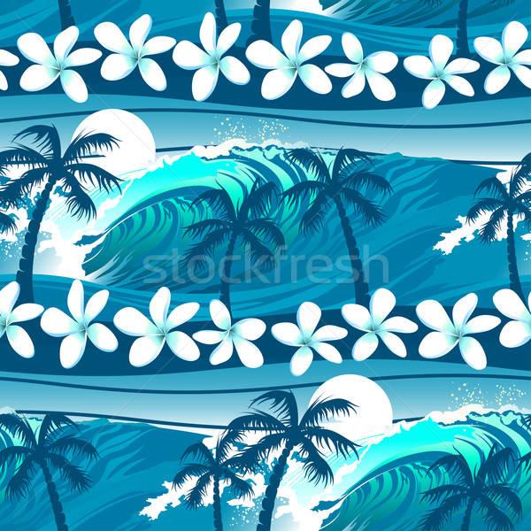 Azul tropical surfe palmeiras flor Foto stock © adamfaheydesigns