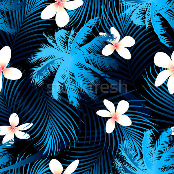 Tropical palm seamless pattern with black background Stock photo © adamfaheydesigns