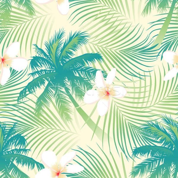 Tropical palm tree with flowers seamless pattern Stock photo © adamfaheydesigns