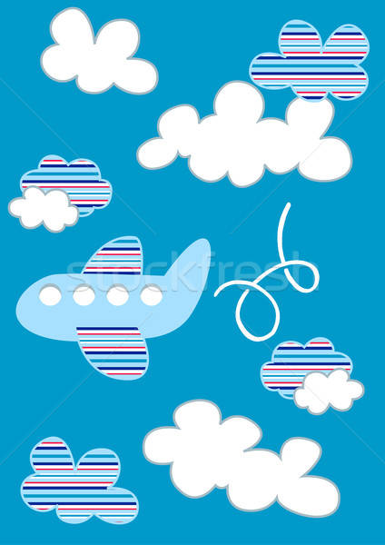 Plane in clouds with stripes Stock photo © adamfaheydesigns
