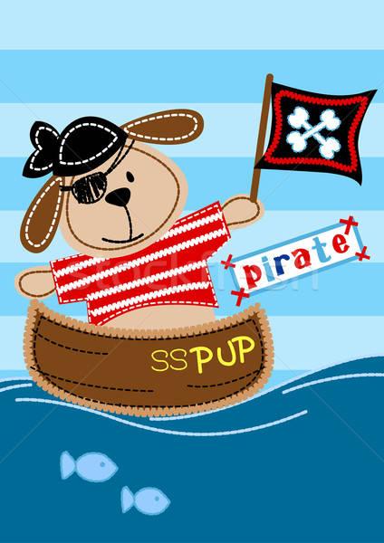 Kalóz kutyakölyök ül csónak hímzés víz Stock fotó © adamfaheydesigns