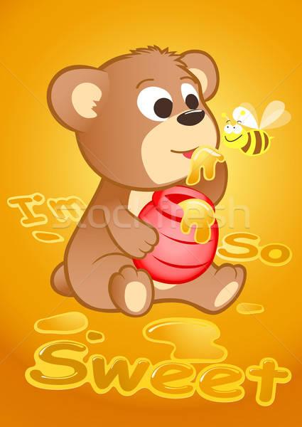 Stok fotoğraf: Sevimli · ayı · yeme · bal · arısı · çocuklar · arı