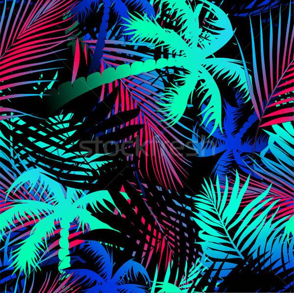 Tropische gekleurd palmbladeren palm groene Stockfoto © adamfaheydesigns