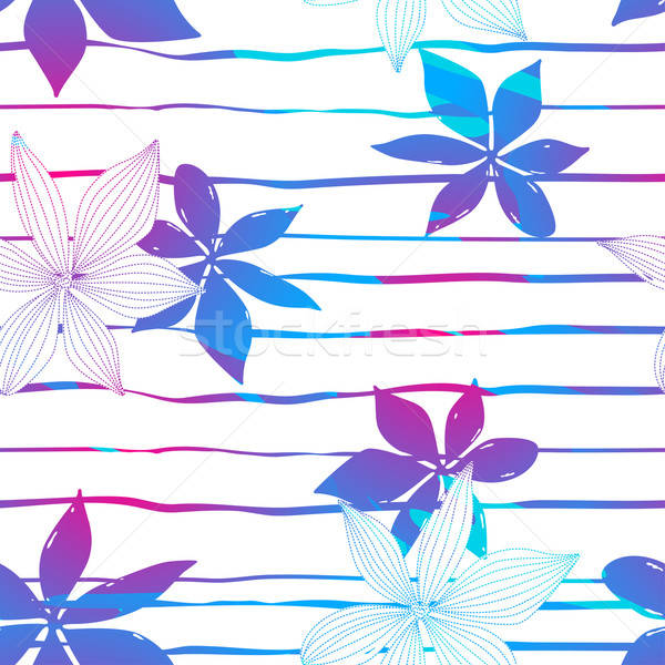 Tropical colorful hibiscus flowers on stripes seamless pattern Stock photo © adamfaheydesigns