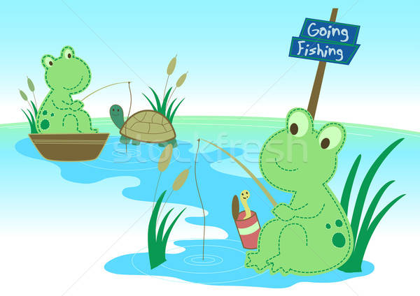 Two frogs fishing in a pond Stock photo © adamfaheydesigns