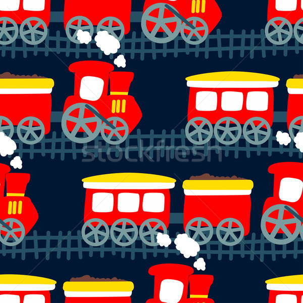 Little steam train in a seamless pattern Stock photo © adamfaheydesigns