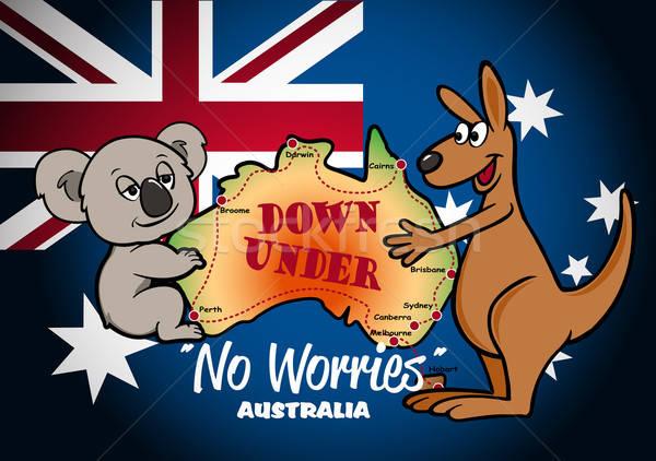 Térkép Ausztrália koala kenguru zászló csillag Stock fotó © adamfaheydesigns