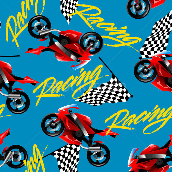 Red motorcycle racing with checkered flag seamless pattern Stock photo © adamfaheydesigns