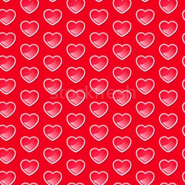 Cute lucido cuori rosso sfondo Foto d'archivio © adamfaheydesigns