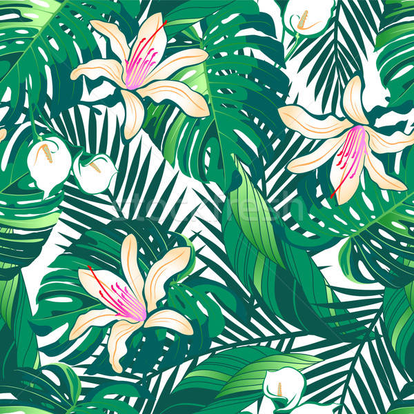 Tropical lush flowers seamless pattern on a white background Stock photo © adamfaheydesigns