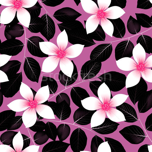 Tropical pink hibiscus flowers with black leaves seamless patter Stock photo © adamfaheydesigns