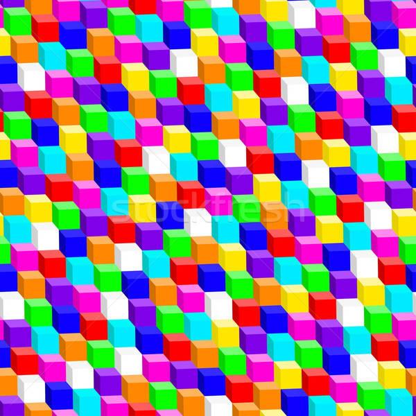 Színes 3D kocka végtelen minta építkezés háttér Stock fotó © adamfaheydesigns