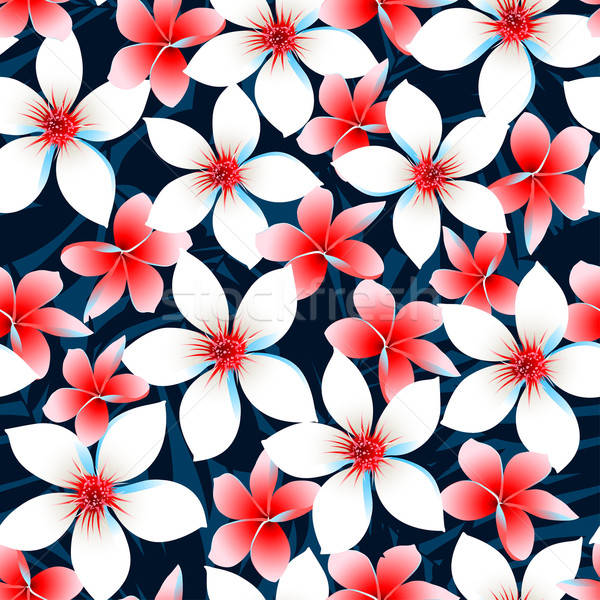 Red white and blue tropical flowers seamless pattern Stock photo © adamfaheydesigns