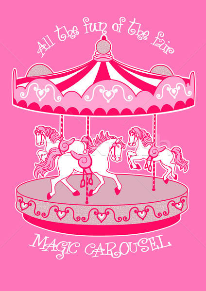 Magic carousel with white horses Stock photo © adamfaheydesigns