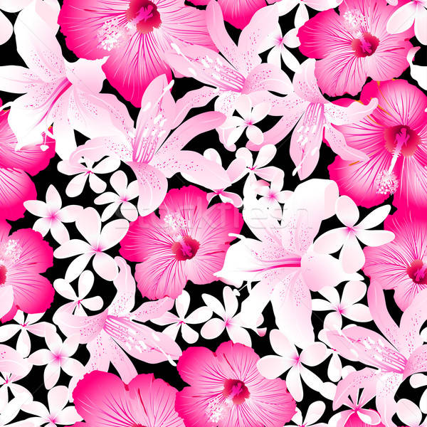 Tropical pink and white flowers seamless pattern Stock photo © adamfaheydesigns