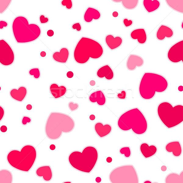 Aranyos rózsaszín piros szívek végtelen minta Stock fotó © adamfaheydesigns