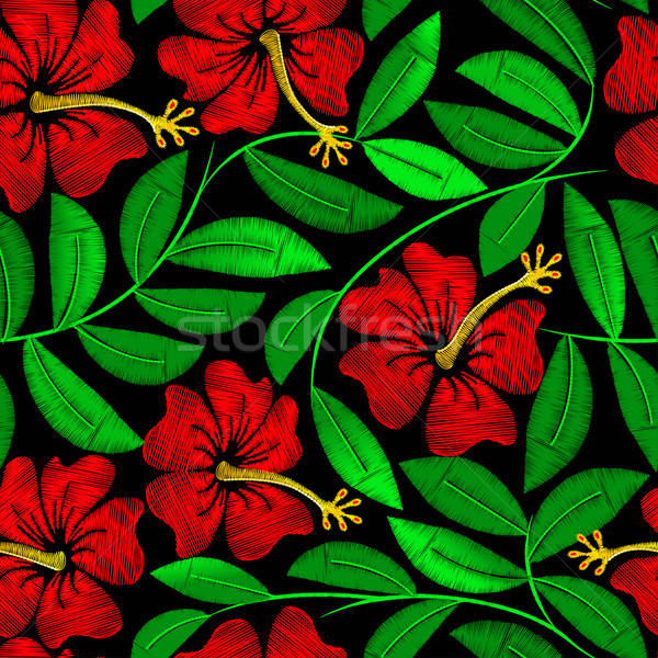 Stock fotó: Trópusi · hímzés · hibiszkusz · növény · végtelen · minta · virág