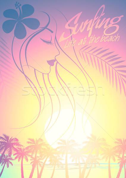 Tropical surfe praia menina palmeiras pôr do sol Foto stock © adamfaheydesigns