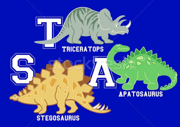 Dinosaurs letters Triceratops, Apatosaurus and Stegosaurus Stock photo © adamfaheydesigns