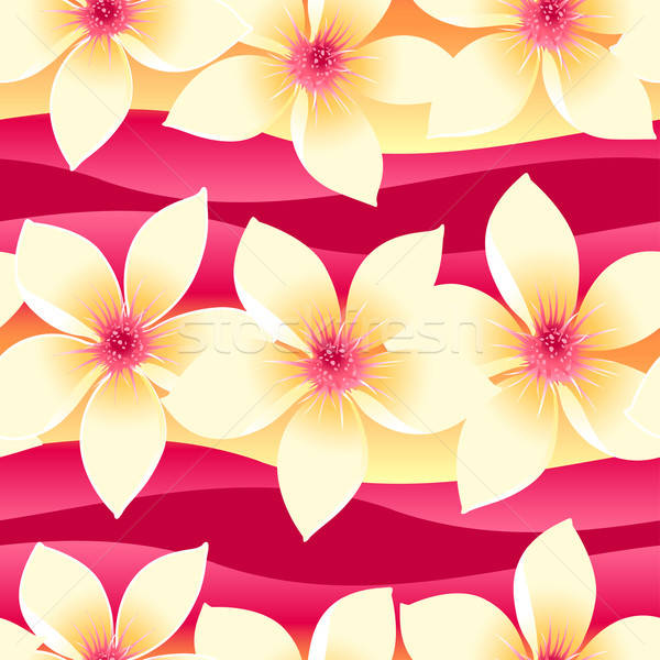 Yellow and pink tropical floral seamless pattern on wave backgro Stock photo © adamfaheydesigns