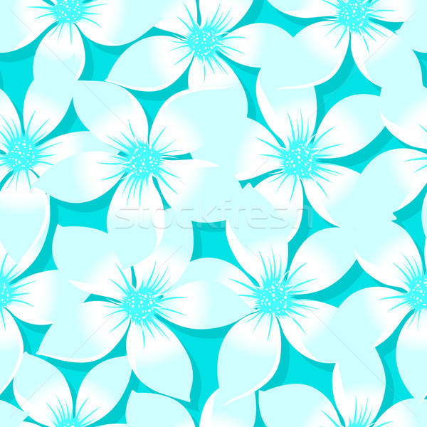 Turquoise tropical Plumeria and Hibiscus floral seamless pattern Stock photo © adamfaheydesigns