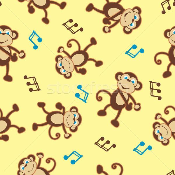 Dancing monkey to music seamless pattern Stock photo © adamfaheydesigns