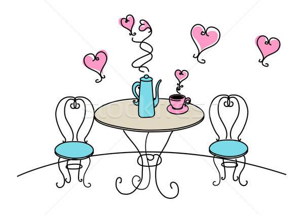 Asztal székek szívek fehér absztrakt szív Stock fotó © adamfaheydesigns
