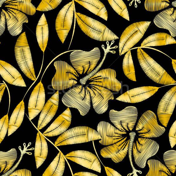 тропические золото вышивка гибискуса завода Сток-фото © adamfaheydesigns